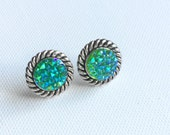 Teal Druzy Earrings, Round Studs, Teal Galaxy Studs, Faux Druzy, Silver Tone Rope