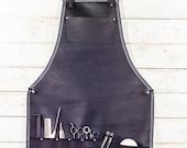 Full Stylist Apron | Black Leather
