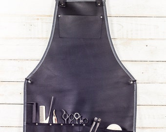 Full Stylist Apron | Black Leather