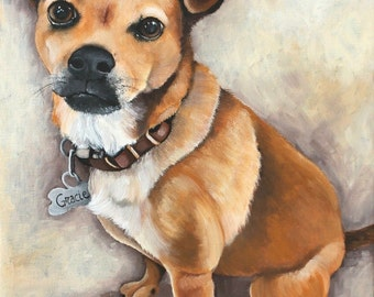 Dog portrait - custom pet painting - dog cat portrait on a 10x14 canvas - hand painted from your photo