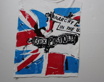 "Vintage Punk tshirt -Sex Pistols Anarchy in the UK - Union Jack -Vivienne Westwood - Seditionaries tee - raw edge -thin vintage 40""-42"""