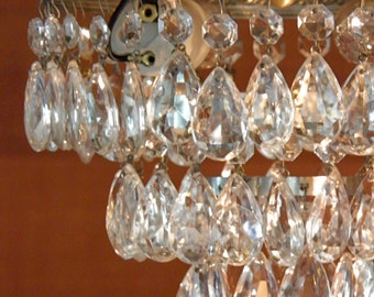 Vintage Chandelier Antique Wedding Cake Chandelier Waterfall Chandelier New Wiring Italian Design 3 Tiers of Crystal Prisms Wow!