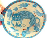 SGRAFFITO Handmade ART Pottery Bowl! CAT, Mouse & Birds -Turquoise Orange Accents or Personalize Colors - Hand Built Ceramic Art