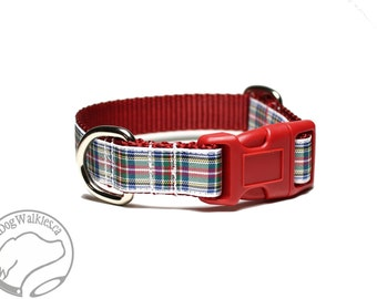 "Dress Stewart Tartan Dog Collar // 3/4"" (19mm) Wide // Red, Blue & White Tartan // Quick Release or Martingale // Choice of style and size"