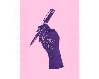Hand-drawn, A5 Risograph print. Purple ink.
