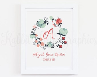 Floral Wreath Monogram Print, Initial print, Digital wall art, Nursery Print, Name, Birth Date, Custom name print