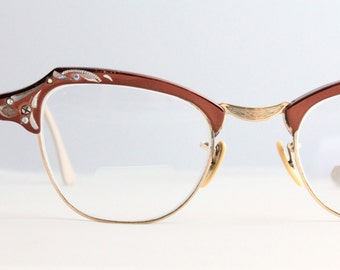 Vintage 50's 12K Gold Filled Rhinestone Aluminum Etched Copper Cat Eye Eyeglasses