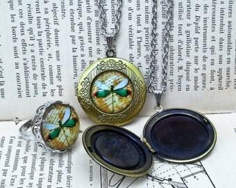 Dragonfly Locket Necklace Locket Pendant Vintage Style Locket Vintage Style Jewelry Gift For Her