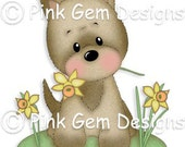 Digi Stamp  Little Millie with Daffodils - Cute Terrier Dog. Westie. Cairn Terrier