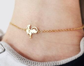 rooster anklet, Personalized anklet, initial anklet, Personalized Jewelry, friendship anklet,Chicken anklet, summer anklet