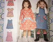 CLEARANCE Uncut Adorable Toddler's Dress Simplicity pattern no. 1022 - Size 6M 1 2 3 4 - 3 sleeve variations