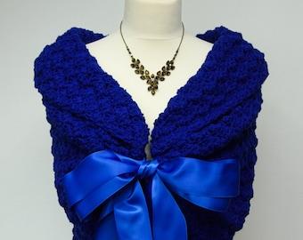 Royal Blue Wedding Shawl, Bridal Cape, Bridesmaid Capelet, Something Blue, Crochet Shawl, Spring Wedding, Blue Bridal Wrap, Modern Wedding