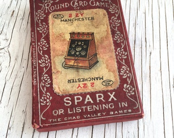 Rare vintage card game: Sparx. Hi-tech of the 1910s! From Chad Valley, 51 beautifully illustrated cards.