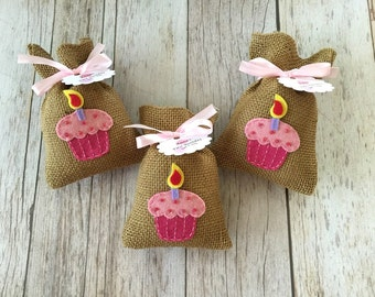 10 baby first birthday burlap favor bags, baby girl