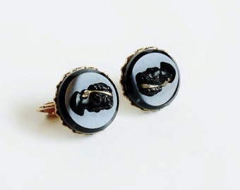 Clip On Cameo Earrings Black and Gold, Vintage Victorian Costume Cameo Jewelry
