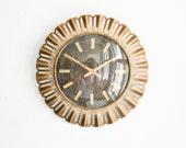 Vintage West German wall clock Richter brass starburst sunburst Mid Century