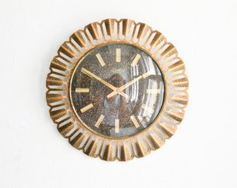 Vintage West German wall clock Richter brass starburst sunburst Mid Century