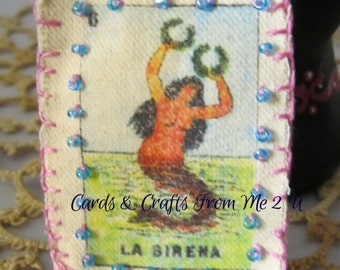 Canvas Keychain, Handmade Keychain, Vintage Mermaid, 1920s Mexican Loteria, Hand Embroidered, Loteria La Sirena, Glass Beads