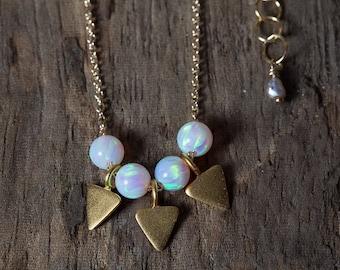 Opal Necklace, Gold Opal Necklace, Simple Opal Necklace, Gold Triangle Necklace, Geometric Necklace, Simple Necklace, Layering Necklace