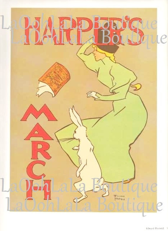 1896 Harper's Magazine Cover Edward Penfield March Hare Alice in Wonderland White Rabbit Belle Époque Victorian Typography Art Poster Print