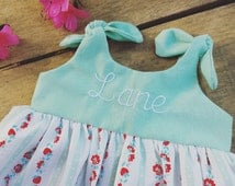 Baby dress, Mint Dress, girls dress, coming home outfit, vintage dress, strawberry, monogrammed dress, preemie , summer baby shower gift