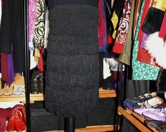 Hip Shaker-THE Most Fabulous 50's 60's Black Fringe Tassel Dress