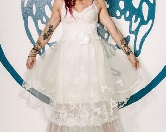 Ivory & white organdy tulle lace boho wedding dress by mermaid miss k