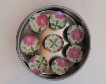 """Glass Gems Magnet Set: """"Pink Daisy Bouquet"""" design"""