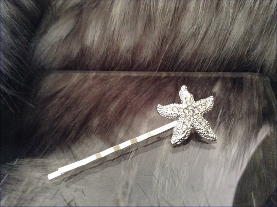 Silver Tone Rhinestone Starfish Crystal Minimalist Pageant Prom Bridal Bobby Pin Comb Hairpiece Diamond Bling Jewelry Wedding Gift Accessory