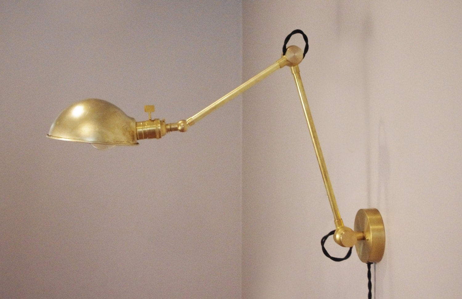 Industrial Articulating Brass Wall Lamp with Parabolic Shade