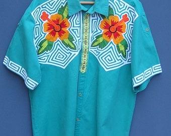 Vintage Tropical Shirt, Mola Reverse Applique, Mens Floral Shirt, Ethnic Shirt, Folk Art Flower Shirt, South America Folk Art, Hibiscus