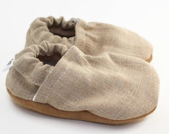 linen baby shoes, tan booties, soft sole shoes, baby boy, baby girl, crib shoes, natural baby clothing, vegan baby booties, toddler shoes