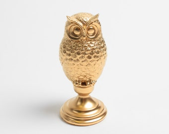 The Gold Owl Bust w/Pedestal- Gold Barn Owl Bust - Owl Decor - Animal Statue - Tabletop Accent Faux Owl Head by White Faux Taxidermy