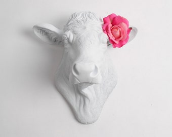 Cow Head Wall Decor, The Bessie in White by White Faux Taxidermy. Chic Country Cottage Farmhouse Decor, Dairy Cow Kitchen Decor