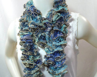 Blue and Gold Ruffle Scarf with Sequins - Woman's Hand Knit Fashion Scarf, Sparkling Accessories, Gifts for Her, Ready to Ship