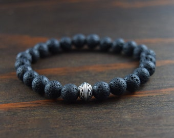 Men's Beaded Bracelet. Lava Stone Bracelet. Celtic Bracelet. Celtic Knot. Lotus & Lava Bracelet. Bracelet for Courage and Strength. Lava.