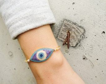 All seeing eye bracelet, silver evil eye bracelet, italian evil eye sterling silver bracelet, evil eye jewelry, turkish lucky eye bracelet