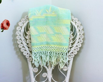 Vintage Towel, Bath Towel, Turquoise & Lime Green, Full Size, Guest Towel, Fringed Towel, Terry Cloth