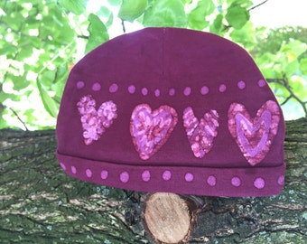 Hearts for Baby on Valentine's Day! Burgundy and Pink Baby Hat, Cotton Baby Beanie, Batik Hat Newborn Hat Pink Hearts, Boho Gift for Baby