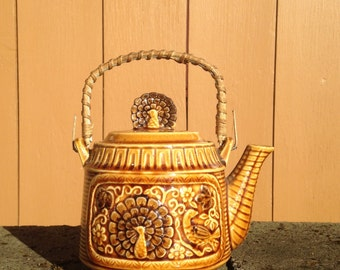 Vintage Asian Bird of Paradise Peacock Teapot Tea Set Brown Pottery Soholm