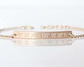 GPS Coordinates Bracelet - Hand-Hammered Bar - Latitude Longitude - Custom Engraved Dainty Bracelet - Sterling Silver - 14K Rose/Gold-Filled