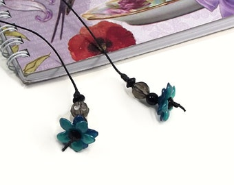 Womens Bookmark, Teal Flower Beaded Bookmark, Unique Bookmarks, Gift for Her, Book Lover Gift, Christmas Gifts
