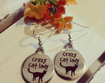 Stainless steel cat charm earrings - cat themed jewelry -  stainless steel earrings - engraved cat earrings - cat disc earrings - kitten