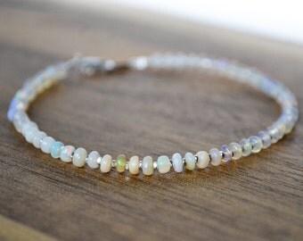 ethiopian opal bracelet  ///  genuine welo opal jewelry - skinny stacking beaded gemstone bracelet ///  october birthstone