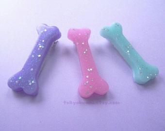 Bone Hair Clips- -Kawaii- Gothic- Pastel Goth- Gothic Lolita- Sweet Lolita-JFashion- Harajuku- Fairy Kei- Creepy Cute