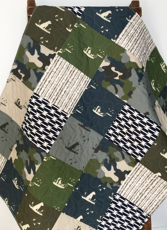 Baby Quilt Boy Dogs Ducks Hunting Guns Camo Woodland By