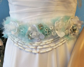 Bridal Wedding Belt-Brides Wedding Sash-Floral Wedding Belt/Sash-Aqua&White Wedding Sash with Handmade Flowers and Vintage Jewelry-Accessory