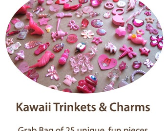 Kawaii Charms Grab Bag - Cute Pink Trinkets Mystery Bag - 25 pieces - Charm Bracelet Decoden Supplies - Pink Charms Mix
