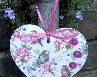 Bird and Floral Art featuring little Birds Decoupaged Wood Hanging Heart