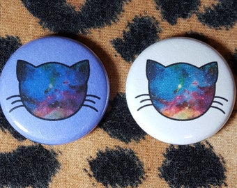 Galaxy Cat Head Nebula Pinback Button or Magnet